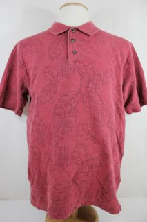 Red Macaw Trading Red Leaf Print SS Polo Shirt Medium