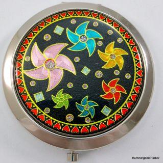 Steel Purse Compact Makeup Mirror New Pinwheel Flowers