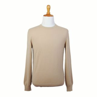 Malo Beige 5 Ply Cashmere Long Sleeve Crewneck Sweater Pullover US 4XL
