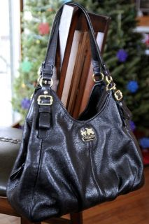 Coach Soft Black Leather Maggie Madison Shoulder Bag Purse Tote XL