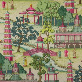 Manuel Canovas Pagoda Chinoiserie Toile Fabric 10 Yards Rose Multi