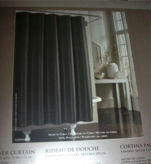 Manor Hill GLIMMER Ebony Black Shimmering Fabric Shower Curtain NIP