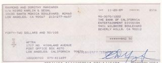 Ray Manzarek Hand Signed Autographed Bank Check