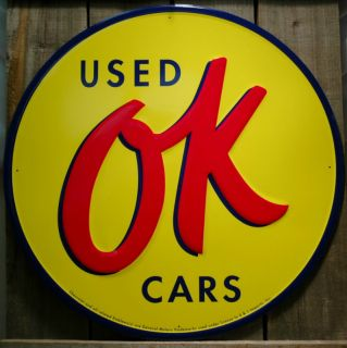 Metal Large 24 Round OK Used Cars Sign Tin Signs