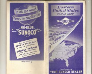 Eastern United States Road Map Your Sunoco Dealer 1941 WWII Era RARE