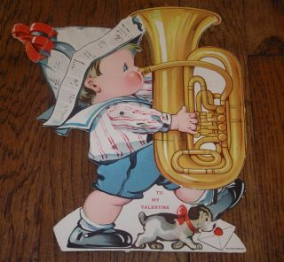 Mechanical Stand up Valentine MARCHING BOY PLAYING TUBA HORN GERMANY