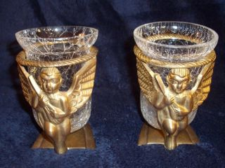 Vtg Pair of Brass Angel Crackled Glass Candle Holders India