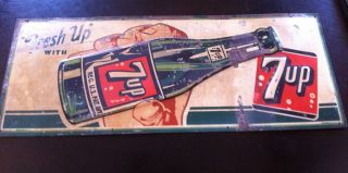 RARE Vintage 1951 Fresh Up 7up Tin Sign