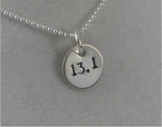 13 1 Sterling Silver Half Marathon Necklace on 18inch Sterling Silver