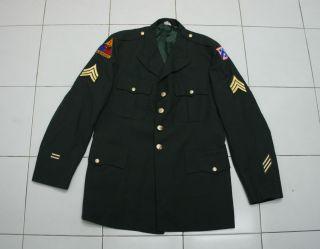 ORIGINAL U S ARMY COAT MANS GREEN DRESS UNIFORM WITH 1st Armored