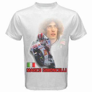 Marco Simoncelli Memorial MotoGP Motorcycle GP White T shirt Size S M