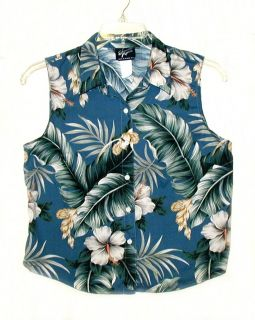 Women Shannon Marie Sleeveless Hawaiian Aloha Shirt L