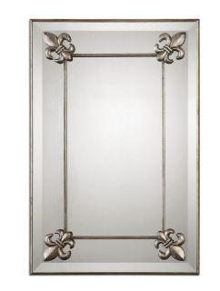 Uttermost 13794 Blanchard Mirror, Antq. Silver Frame w/Fleur De Lis