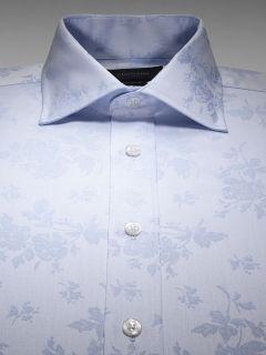 BNWT Duchamp Mens Luxury Rose Garden Jacquard Shirt RRP £159 Powder