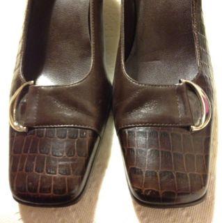 145 Etienne Aigner Manzoni Dark Brown Crocodile Leather Pumps Shoes