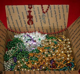 Mardi Gras Beads Medium Flat Rate Box Big Lot