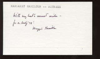 Margaret Hamilton Actress Autographed Signed Index Card Hologram
