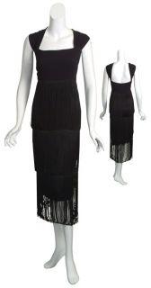MARINA RINALDI Sassy Black Flapper Fringed Evening Dress WOMENS 22W