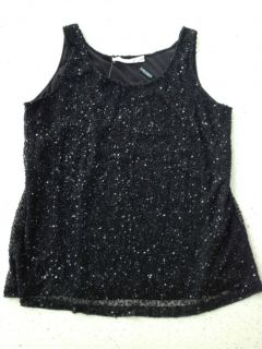 Marina Rinaldi Max Mara Sequined Lace Black Evening Top Size L
