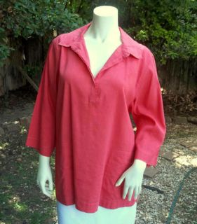 FISHER Stretch Linen CAMP SHIRT Top TUNIC L  200 Fun PINK