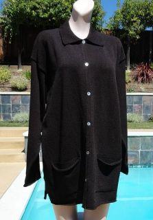 Margaret Oleary Dark Chocolate Brown Knit Cardigan Sweater Jacket Sz 2