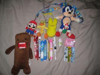 Super Rare Plushie Mechanical Pencil Lot Domo Kun Mario Peeps Hello