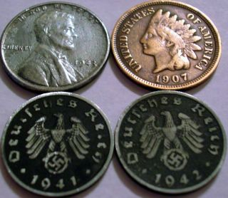 Mint Mark Nazi Coins WW2 3rd Reich Indian Cent 1907 Steel 1943