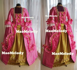 Marie Antoinette Baroque Cosplay Costume Dress Pink Gold