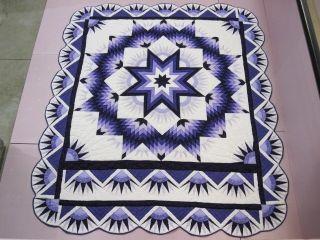 Handmade Mennonite Quilt Purple Mariners Compass Star 6 Stitches per