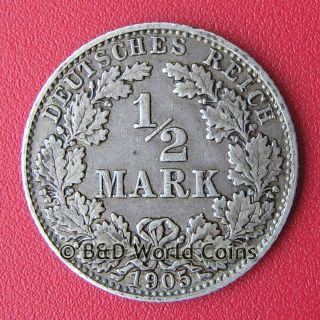 Germany 1905 D 1 2 Mark Silver Munich Mint 20mm KM 17