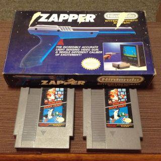 Zapper Light Gun, In Original Box, W/ Super Mario Bros Duck Hunt NES