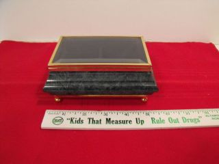 BEAUTIFUL GREEN MARBLE + BRASS JEWELRY BOX WITH GLASS CRYSTAL TOP MUST