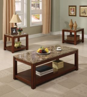 PC Modern Brown Marble Top Coffee Table and End Tables ZAC16797