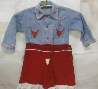 VTG 1950s LITTLE GIRLS COWGIRL OUTFIT SHIRT/BLOUSE & SKIRT DENIM