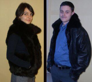 Andrew Marc Fur Lined Leather Bomber Jacket w Fur Vest