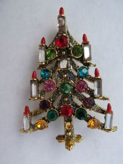 Vintage Hollycraft Christmas Tree Pin Marked