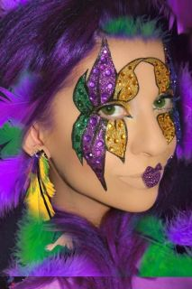 Mardi Gras Mask Costume Glitter Crystal Eye Makeup