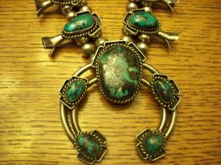 Beautiful Old Pawn Sterling and Morenci Turquoise Squash Blossom