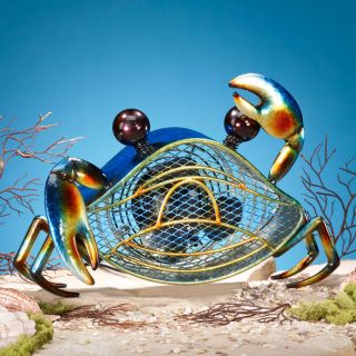 Deco Breeze Decorative Blue Crab Figurine Table Fan