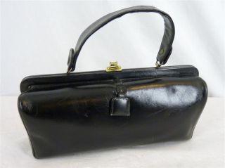 50s 60s Mod Black Leather Margolin Rounded Box Purse Handbag