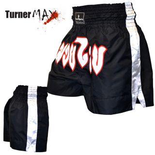 Thai Shorts Training Trunks Kick Boxing MMA Martial Arts Black