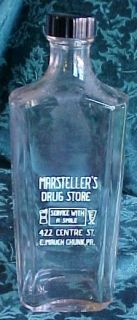 Glass 16 oz Medicine Bottle Marstellers E Mauch Chunk PA