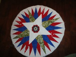 3D MARINERS COMPASS QUILT Round Block NEW BADGE BLOCK RED WHITE BLUE