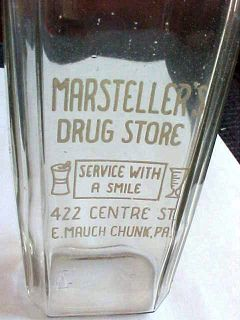 Glass 8 oz Medicine Bottle Marstellers E Mauch Chunk PA