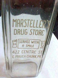 Glass 8 oz Medicine Bottle Marstellers E Mauch Chunk PA