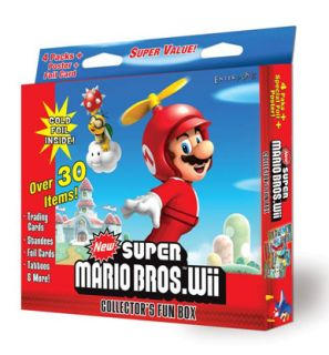 Super Mario Bros Wii Collectors Fun Box New Cards Etc
