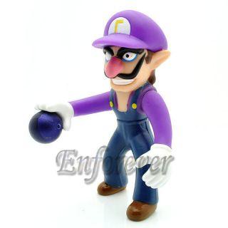 Mario Bros 4 Waluigi Poseable Action Figure Toy MS225