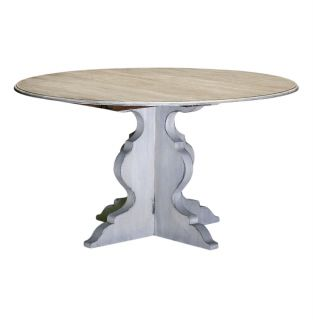Mary Antique White French Deco Round Dining Table 54D