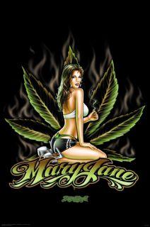 Sexy Hot Mary Jane Marijuana Cannabis Leaf Poster 16x20