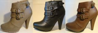 DbDk Toky 2 Ladys Fashion Ankle High Heel Leather Zipper Boots